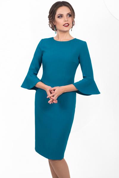 Элегантное платье бирюзового цвета П-484/1