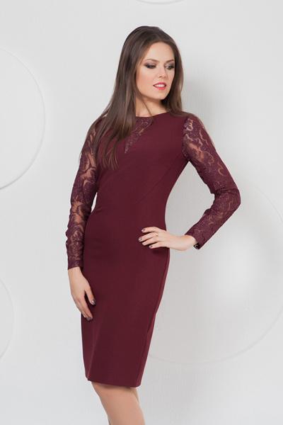 Платье с гипюром  П-486/1